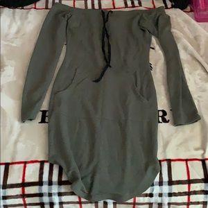 Windsor off the shoulder hoodie dress
